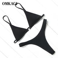 OMKAGI Brand Sexy Black Solid Brazilian Bikinis Low Waist Thong Bikini Set Push Up Padded Bikinis