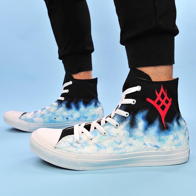 Wen Black Sneakers Mens High Top Skateboarding Shoes Hand Painted Destiny The Taken King Espadrilles Flat Womens Laced Plimsolls игра для xbox destiny the taken king