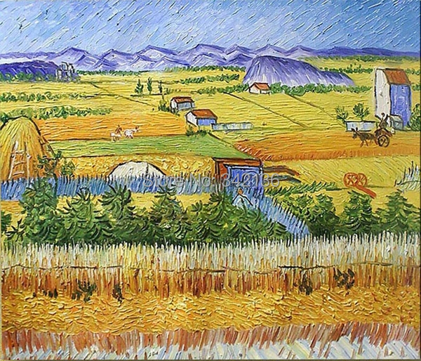 Farm Busy Season Pictures By Van Gogh Oil Painting