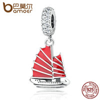 BAMOER 925 Sterling Silver Chinese Junk Ship Red Enamel Clear CZ Pendant Charms DIY Beads Jewelry