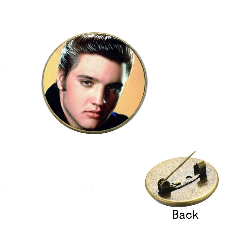 Songda Retro Elvis Presley Kerah Pin Musik Rock Singer Potret Gambar Seni Kaca Cabochon Logam Kerah Pin Bros Lencana