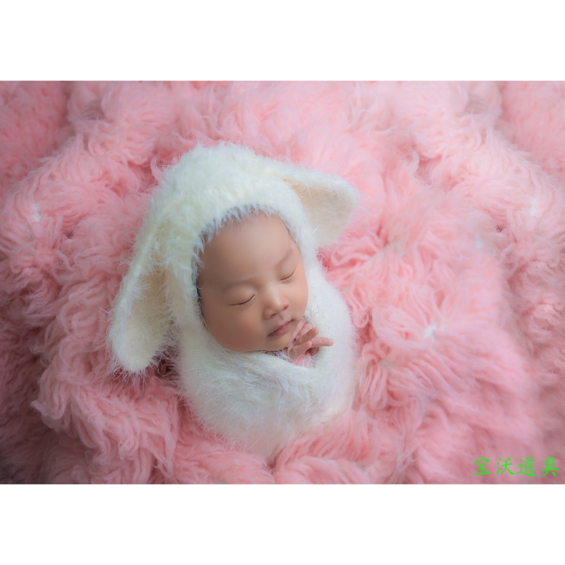 Fluffly Stretch Wrap And Hat Set Newborn Photography Props Knit Layer Cocoon Props Baby Jeresy Stretch Wrap Animal Soft Bonnet