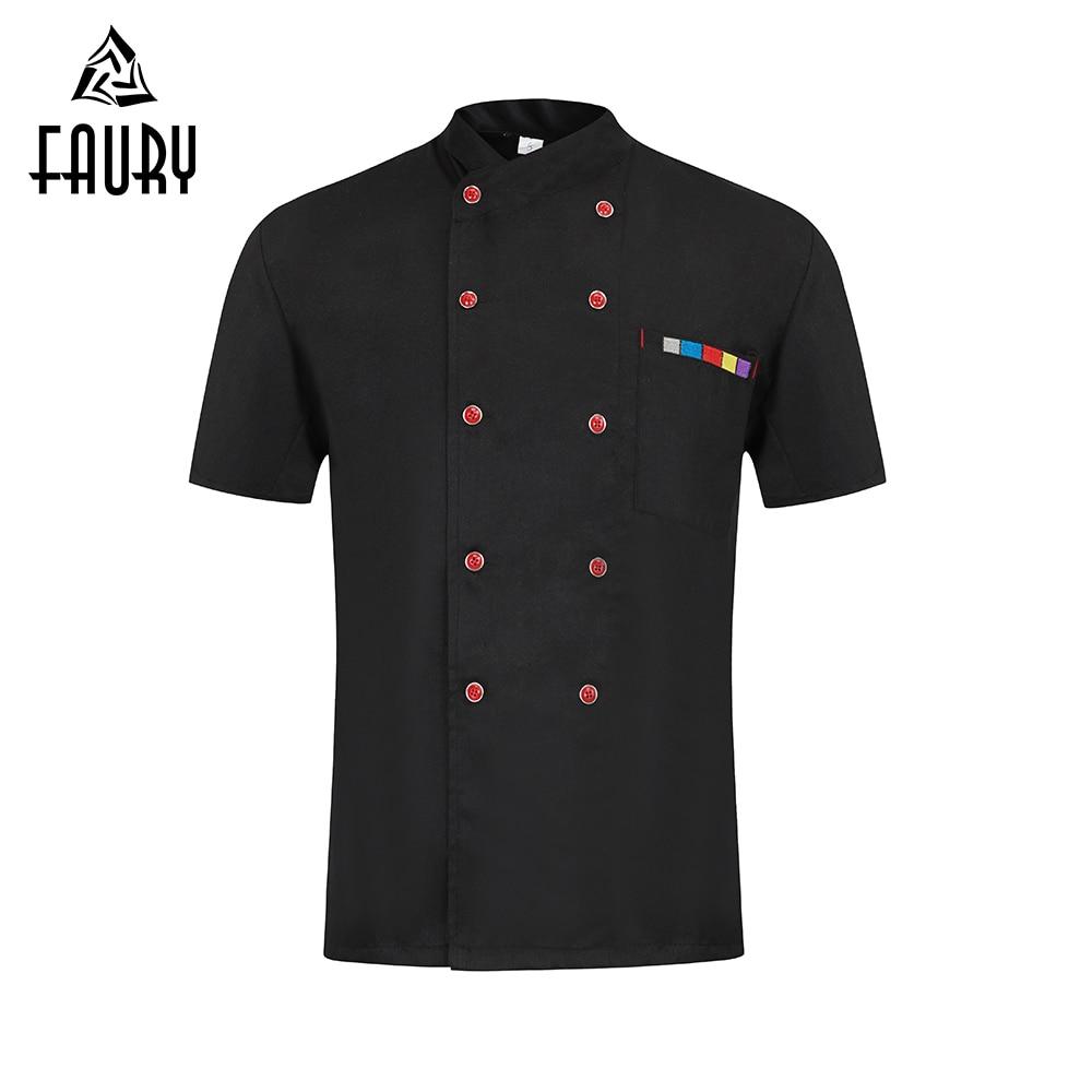 High Quality Short Sleeve Chef Cook Work Uniform Restaurant Hotel BBQ Kitchen Workwear Clothing Food Service Barbershop Overalls