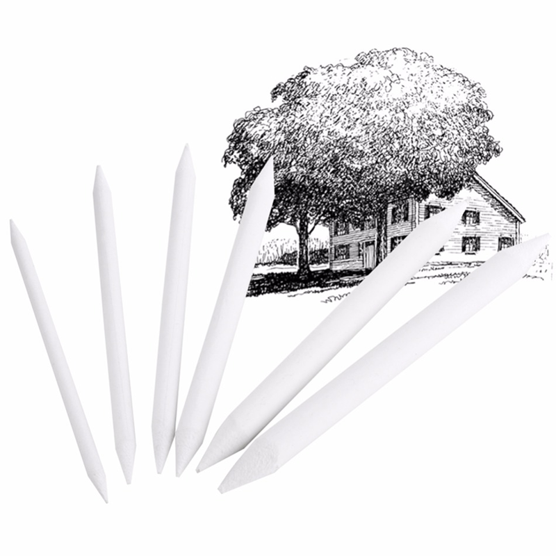 6Pcs/set Professional White Rubber Set Double Head Drawing Sketch Paper Eraser Charcoal Pencil Art Painting Stationery Supplies