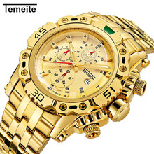 купить Gold Mens Watches Top Brand Luxury Stainless Steel Quartz Watch Men Date Military Waterproof Sport Wrist Watch Relogio Masculino по цене 1106.58 рублей