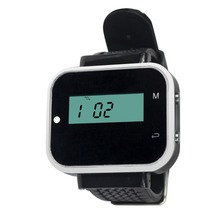 TIVDIO 433.92MHz Wireless Guest Queuing Paging System Watch Receiver Call Pager For Restaurant Coffee Black F3229A