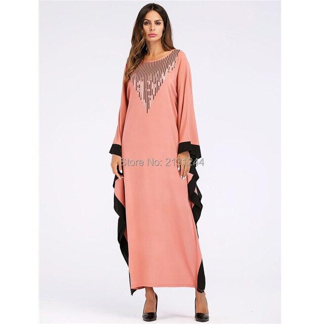 502f6639a9a Casual Muslim Maxi Dress Long Sleeve Middle East Abaya T shirt style Loose  Style Long Robe Moroccan Burka Kaftan Islamic Arab