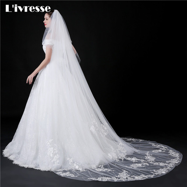 2 Layers Cathedral Wedding Veil With Comb Liques Edge Pearls Elegant Accessories Long Bridal Face