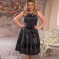 6XL tamaño grande mujer vestido 2016 Sin Mangas caliente del verano Polka Dot vestidos más el tamaño de grasa MM mujeres 6xl ropa visten el envío libre