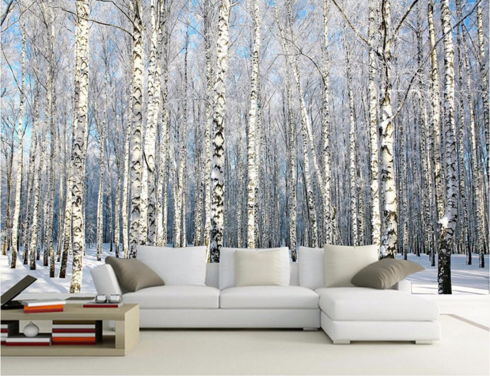 Custom Mural Photo 3d Wallpaper Birches Snow Scenery Home