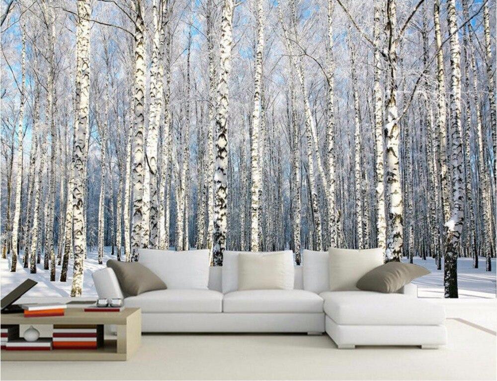 Personalizzato mural foto carta da parati 3d betulle neve for Immagini carta da parati 3d