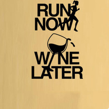 Run Now Wine Later Fitness Gym Wall Art Stickers Decals Vinyl Home Room Decor free shipping