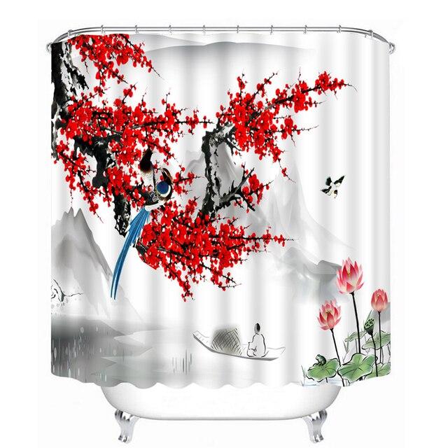 Chinois style 3D Rideaux De Douche Rouge Peach Blossom Motif Salle ...