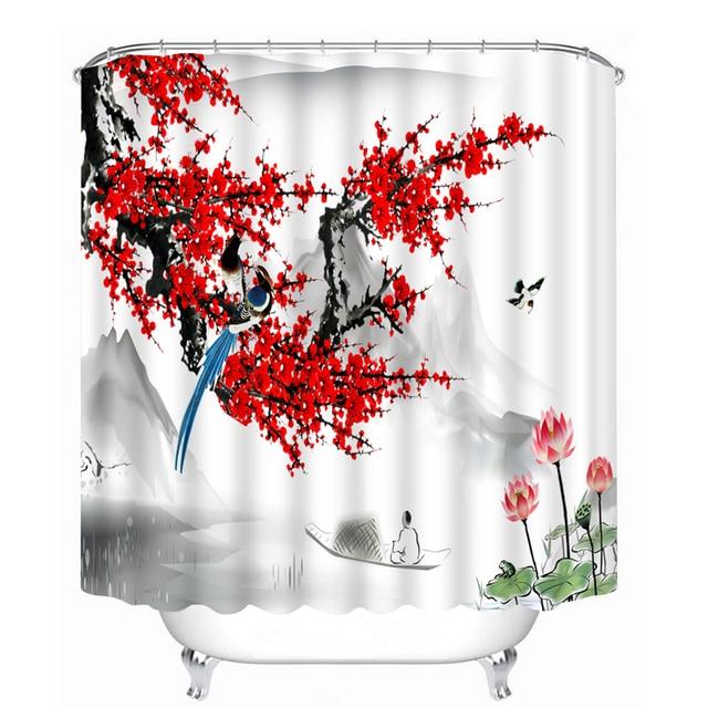 Style chinois 3D rideaux de douche motif fleur de pêche rouge ...