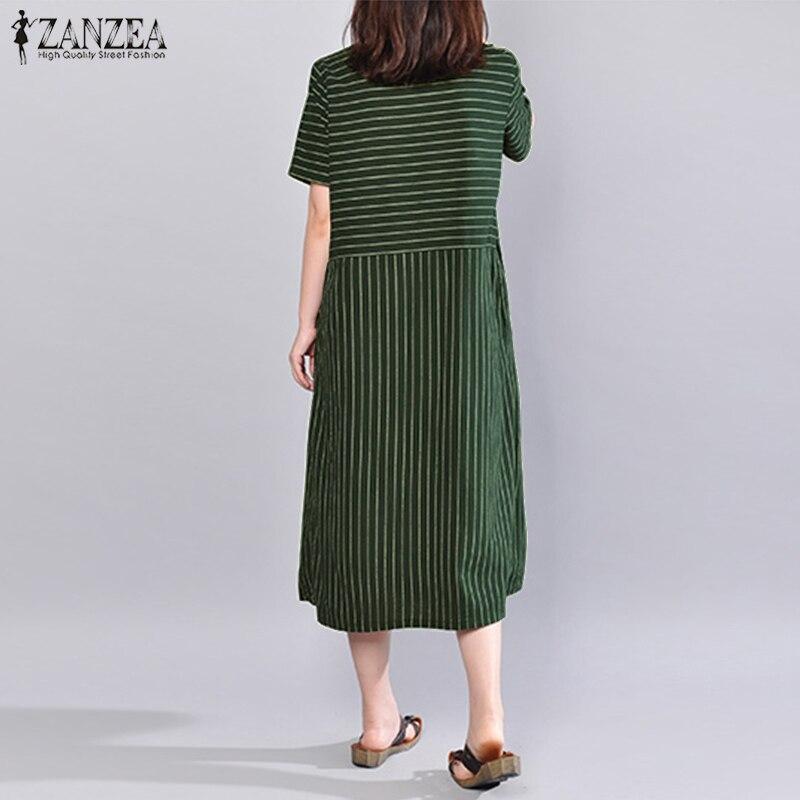 6500ff33152 S 5XL ZANZEA 2018 Summer Women Striped Dress Casual Loose Long Maxi Dresses  Cotton Linen Vestido Short Sleeve Beach Robe Femme-in Dresses from Women s  ...