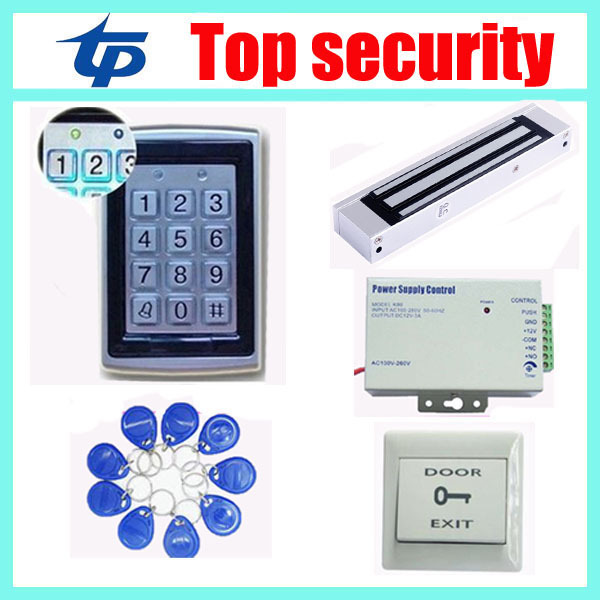 Metal standalone single door RFID EM access control system with keypad+power supply+magnetic lock+exit button +10pcs RFID key rfid standalone access control keypad 125khz card reader door lock with 10 proximity key fobs for door security system k2000