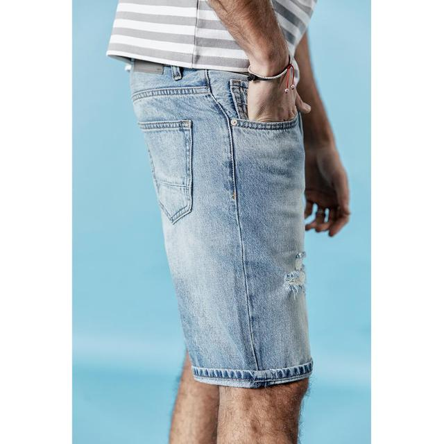 Men Jean Shorts Slim Fit Ripped Fashion