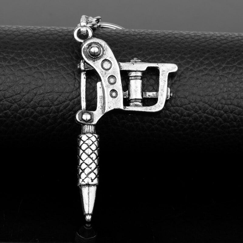 Dongsheng Fashion Mini Tattoo Machine Charm Keychain Gunmetal Key Ring New Key Chains Jewelry Gifts -50