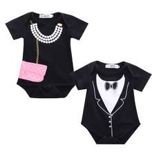 Newborn Toddler Infant Baby Boy Tuxedo Formal Romper Jumpsuit Girl Bag Necklace Costume Short Sleeve Clothes For 0-18M(China)