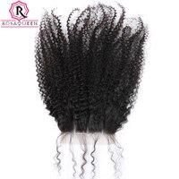 Три части Синтетическое закрытие шнурка волос 100% Человеческие волосы монгольский афро кудрявый вьющиеся волосы Накладные волосы отбеленн...