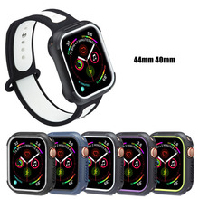 New Two-color Silicone protective cover fo Apple Watch case 44/40mm compatible for iwatch series 4 Fall Resistance Accessories
