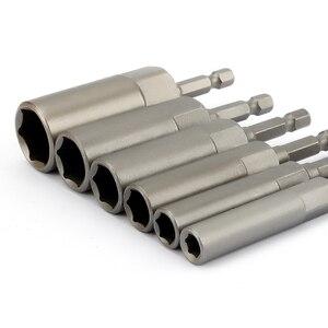 Image 1 - 6Pcs 6mm 17mm 80mm אורך נוסף עמוק בורג אגוז קצת סט מטרי 1/4 6.35mm השפעת שוק Hex Socket מתאם עבור כלי חשמל