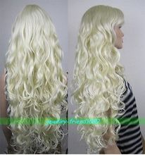 g Wholesale NEW LONG CURLY BLONDE WOMEN FULL WIG