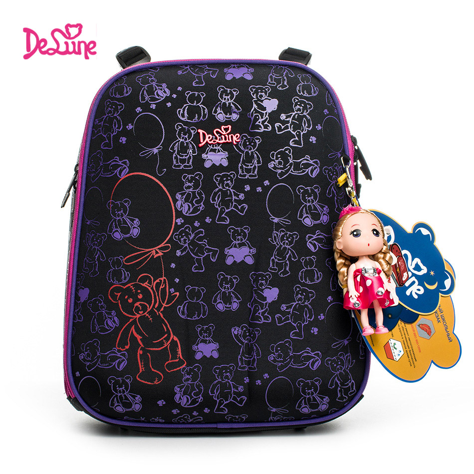 Delune 2018 fashion 3D cartoon children school bags for girls printing school backpack children Orthopedic Schoolbag