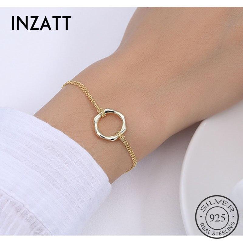 INZATT 100% 925 Sterling Silver Minimalist Geometric Polygon Bracelet For Charming Women Party OL Fine Jewelry Trendy 2019 Gift