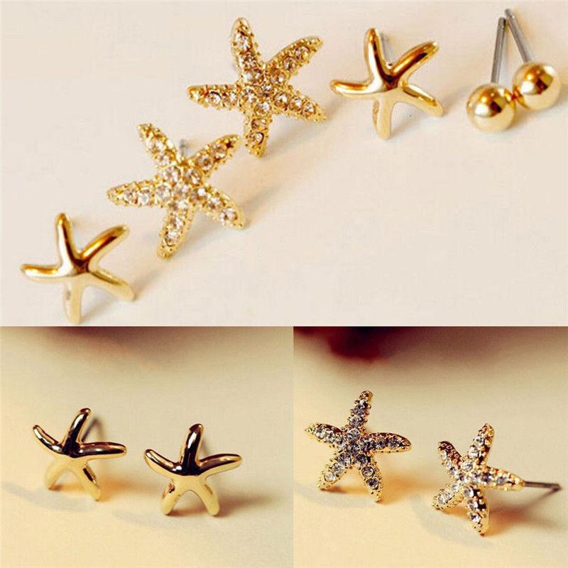 Na moda 3 pares/set strass estrela do mar brincos nova moda simples brincos para mulheres brincos birhtday presentes