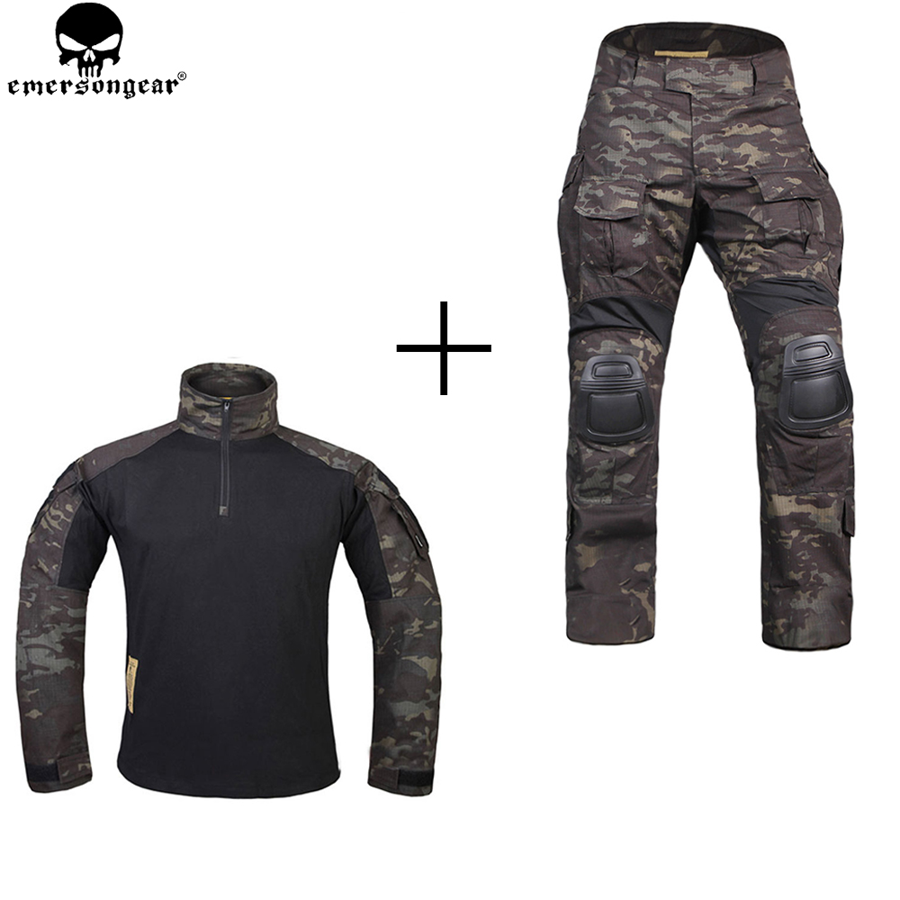EMERSONGEAR Hunting Clothes Combat Pants with Knee Pads emerson Pants Multicam Shitr Black Tactical Camouflage Pants