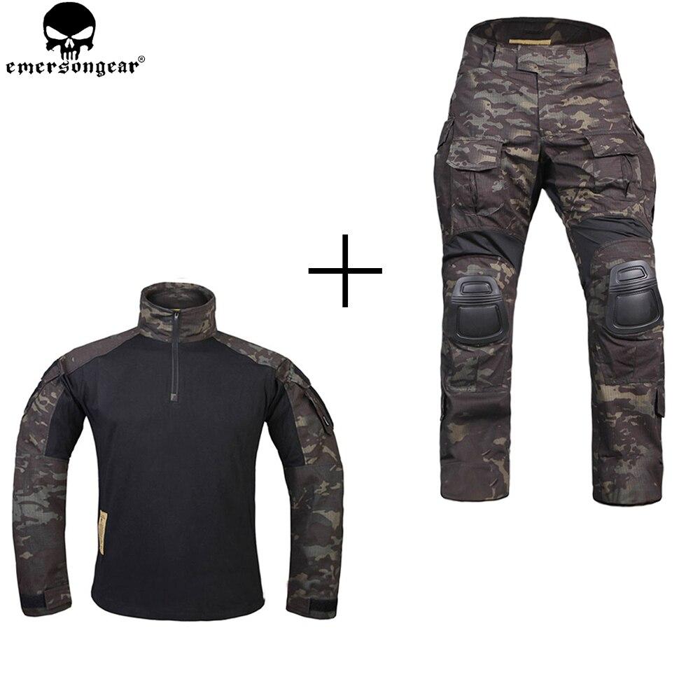 EMERSONGEAR Caccia Abbigliamento di Combattimento Pantaloni con Ginocchiere emerson Pantaloni Multicam Shitr Nero Tattico Camouflage Pantaloni G3 Uniforme