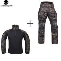 Emerson Охотный одежда армейские брюки с наколенниками Эмерсон Брюки Мультикам Shitr черный тактический камуфляжные штаны G3 форма