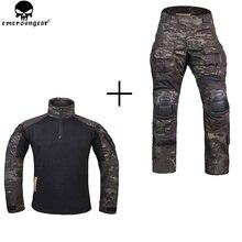 Emersongear 狩猟服戦闘パンツ膝パッド emerson パンツマルチカム shitr 黒戦術的な迷彩パンツ G3 制服