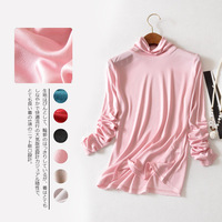 100% mulberry silk double knitted turtleneck thin thermal underwear women long sleeve render unlined upper garment