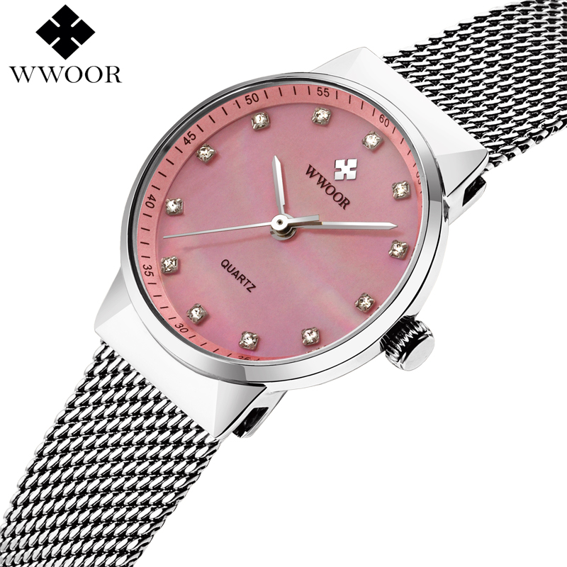 WWOOR Brand Women Watches Luxury Waterproof Stainless Steel Women Quartz Wrist Watch Ladies Watch Female Pink Clock montre femme deepshell full crystal diamond women stainless steel bracelet quartz gold watch female ladies dress wrist watches montre femme