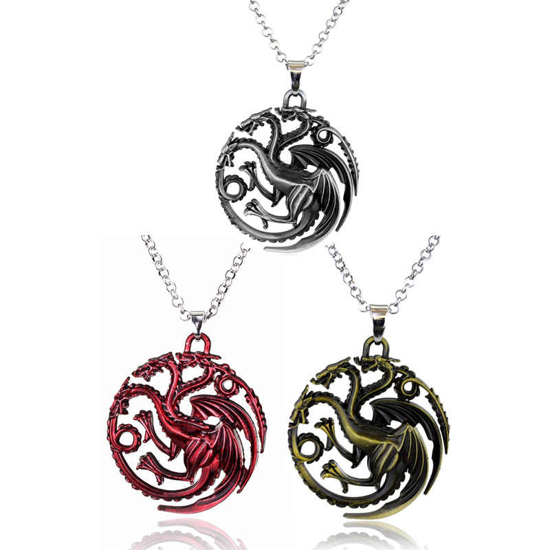 2019 Game of Thrones Dragon King Necklace Song Of Ice And Fire Daenerys Targaryen Blood And Fire Round Dragon Lannister Necklace