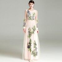 High Quality 2018 Spring Summer New Runway Maxi Dress Designer Women Long Sleeve Flower Embroidery Elegant
