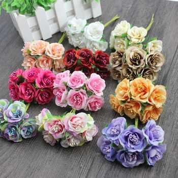 6 pcs/ lot cheap Mini Silk Daisy Artificial Rose Flowers Bouquet DIY Wedding Decoration Paper Flower For Scrapbooking Flower