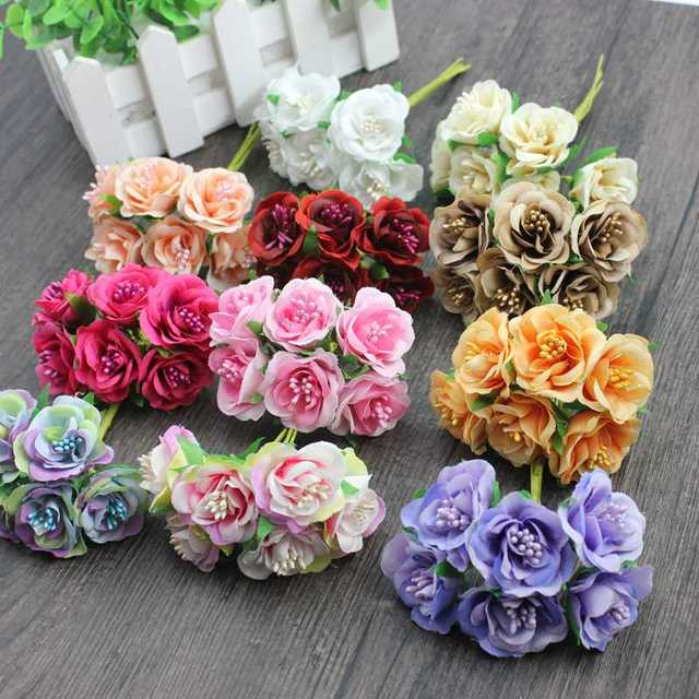 6 pcs/ lot cheap Mini Silk Daisy Artificial Rose Flowers Bouquet DIY ...