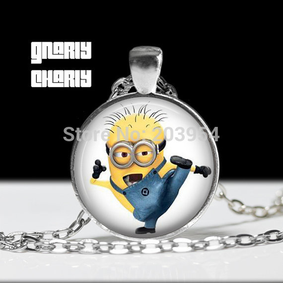 Steampunk movie Despicable Me Minion Necklace 1pcs/lot bronze or silver Glass Pendant jewelry chain dr who necklace toy cosplay image