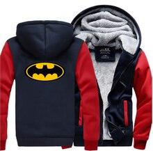 Super Hero  Print Cartoon Hoodies Men 2019 Winter Warm Fleece Raglan Sleeve Sweatshirts Thicken Coat Brand Clothing