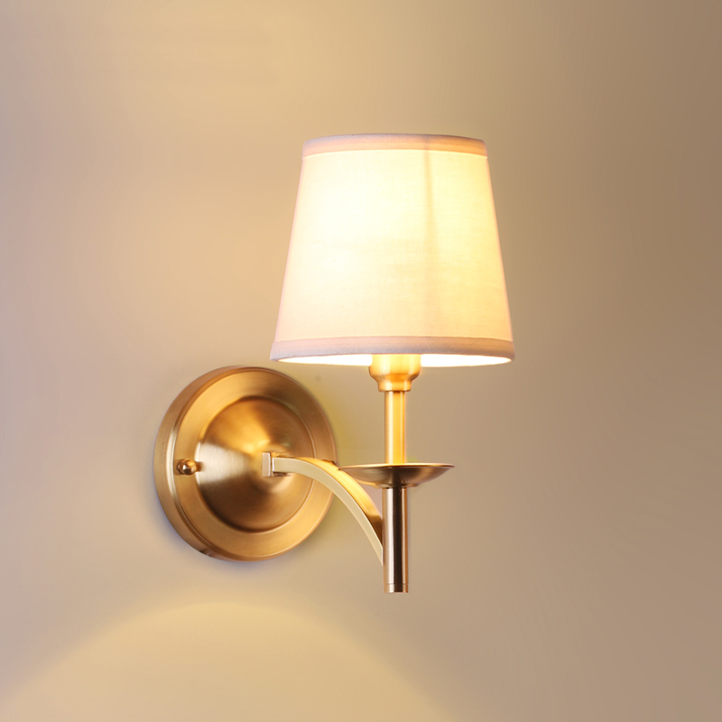 American style full copper wall lamp modern minimalist living room balcony bedroom bedside lamp head copper single aisle european full copper wall lamp bedroom bedside lamp american living room background wall aisle corridor staircase copper lamp