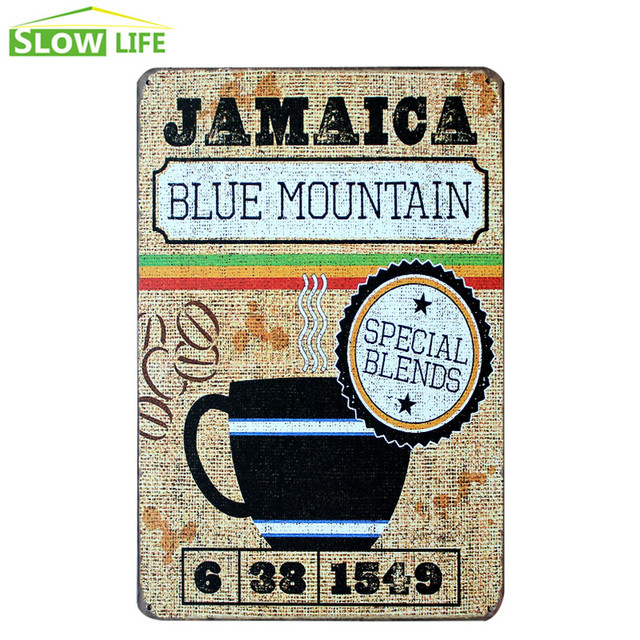 Jamaica Blue Mountain Coffee Vintage Home Decor Tin Sign Cafe Wall