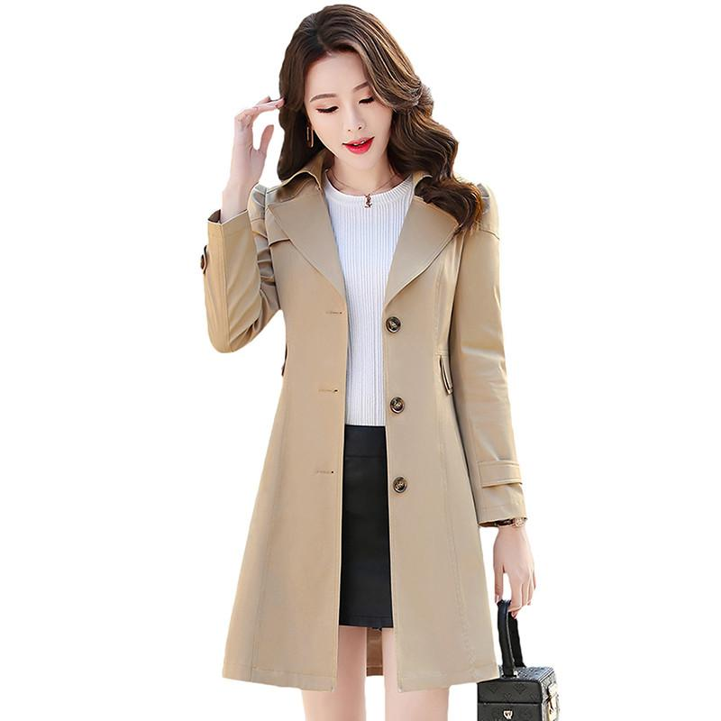 Spring Autumn 2019 Fashion Single Breasted Mid-Long   Trench   Coat Female Solid Chic Elegant Windbreaker Outwear Plus Size 5XL D44