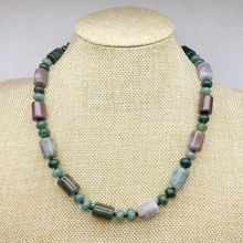 10 Colors Natural Stone Beads Choker Necklace Tube Bead Knotted Necklace Party Gift for Her 45 cm Silver Color