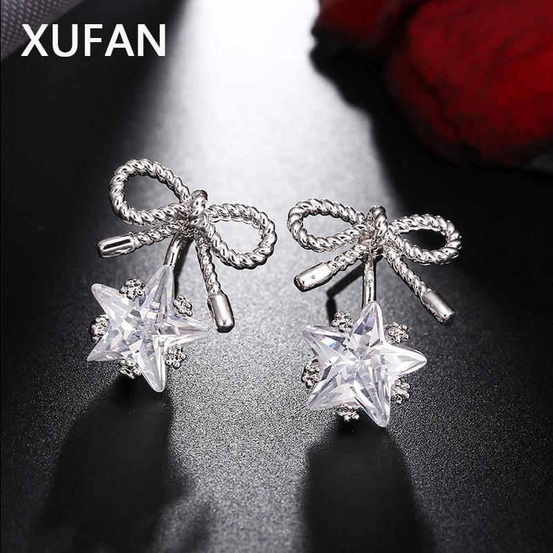 Dropshipping high-end Women bowknot CZ Zircon Stud Earrings for Girls Shiny pentagram Star earrings fashion jewelry