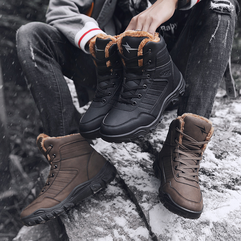Men's Boots Vesonal Genuine Leather Short Plush Ankle Boots For Men Male Shoes Adult Winter Fur Warm Snow Boots Safety Footwear Sneakers 176 Snow Boots