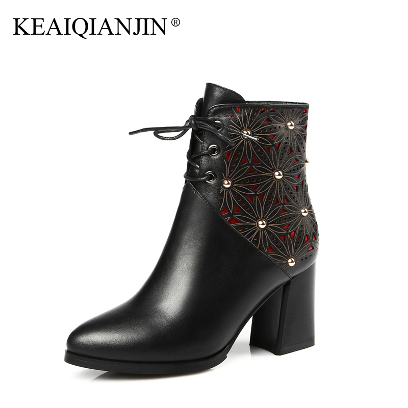 KEAIQIANJIN Woman Genuine Leather Lace Up Boots Plus Size 34 - 42 Red Blue High Ankle Boots Zipper Plush Autumn Winter Shoes plus size zipper up pockets design hoodie