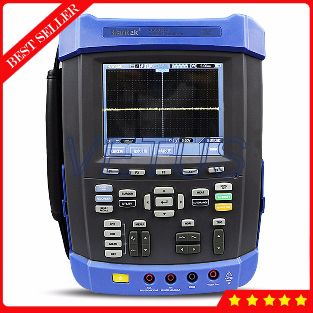 Handheld Oscilloscope 100MHz Digital USB Scopemeter with DSO8102E 6 in 1 6000 Counts DMM Function Generator Frequency Counter